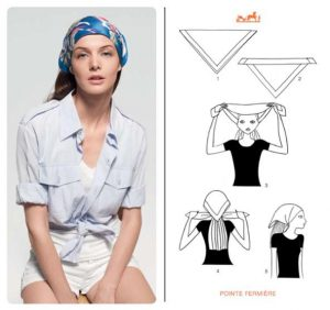 Instructions to Tie Hermes Scarf Around Head