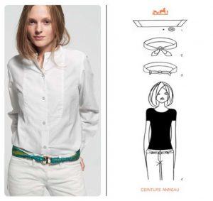 Wearing a Hermes Scarf like Belt