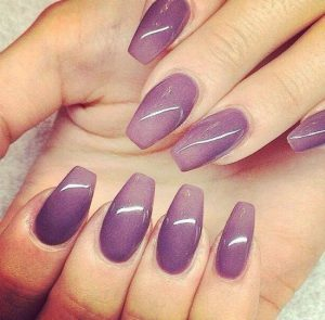 Purple Ombre Coffin Nails